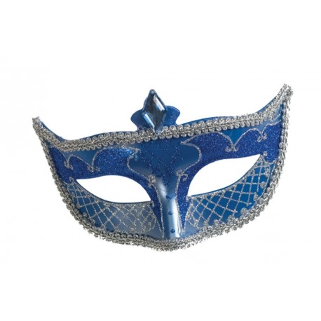 Blue and Silver Carnival Mask