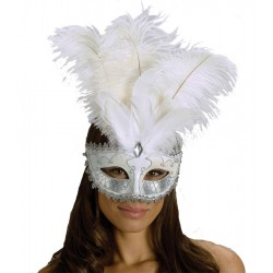 Carnival Big Feather Mask - White / Silver