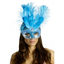 Carnival Big Feather Mask -  Turquois