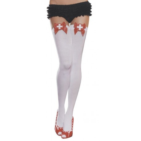 Nurse Thigh Highs - White/Red Bow