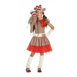 Sock Monkey Costume Girl