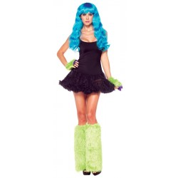 Furry Leg Warmers with Gloves - Green