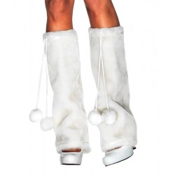 Furry Leg Warmers - White
