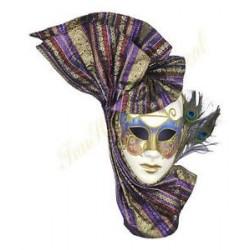 Mardi Gras Mask - Venetian wiht Peacock Feathers Full