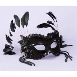 Mardi Gras Half Mask - Black with Feathers