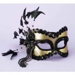 Mardi Gras Half Mask - Black with Gold