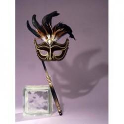 Mardi Gras Half Mask - Black with Stick
