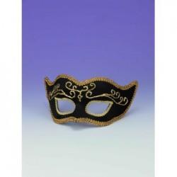 Mardi Gras Half Mask - Black with Gold Trim