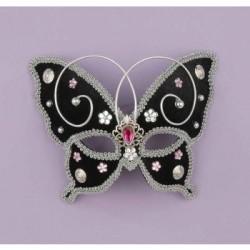 Mardi Gras Half Mask - Black Butterfly