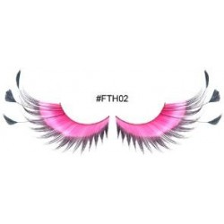 Pink with Black Feather Tip Eyelashes