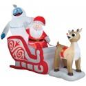 Airblown Rudolph pulling Santa