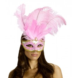 Carnival Big Feather Mask - Pink