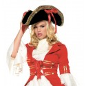 Deluxe Red Ribbon Women's Pirate Hat