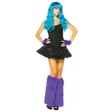 Furry Leg Warmers with Gloves - Purple
