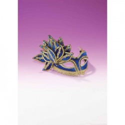 Mardi Gras Half Mask - Blue with Gold