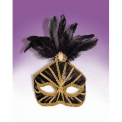 Mardi Gras Half Mask - Black with Gold Trim & Feathers