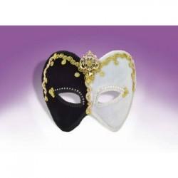 Mardi Gras Half Mask - Black & White with Gold & Gem Trim