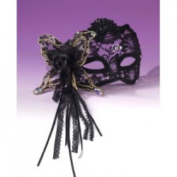 Mardi Gras Half Mask - Black with Black Lace