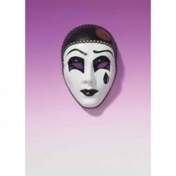Mardi Gras Full Mask - Black & White Pierrot