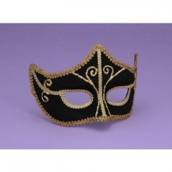 Mardi Gras Half Mask - Black with Gold