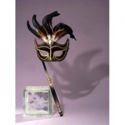 Mardi Gras Half Mask - Black with Stick
