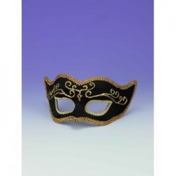 Mardi Gras Half Mask - Black with Gold Trim
