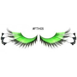 Green Eyelashes with Black Feather tips